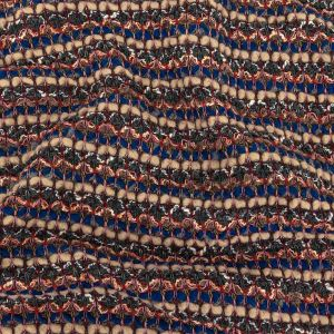 Blue, Sesame, and Wine Chunky Striped Wool Knit