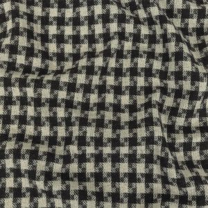 Black and Ivory Houndstooth Checks Blended Cotton Woven