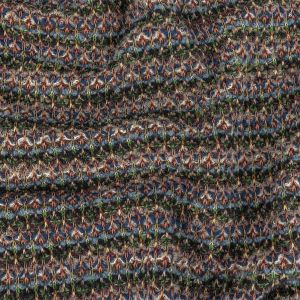 Italian Navy, Dusty Blue and Green Striped Boucle Wool Sweater Knit