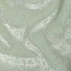 Metallic White and Sky Blue Floral and Pencil Stripes Polyester Brocade