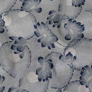 Italian Pale Lavender and Insignia Blue Floral Stretch Rayon Poplin