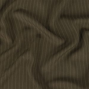 Italian Dusty Olive and White Pinstriped Rayon Crepe