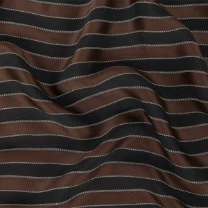 Italian Black and Cloud Dancer Striped Rayon Twill with Brown Satin-Faced Stripes