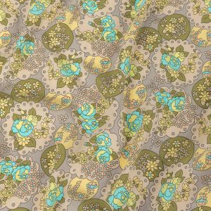 Italian Light Turquoise, Olive, and Dusty Lilac Roses and Doilies Rayon Crepe