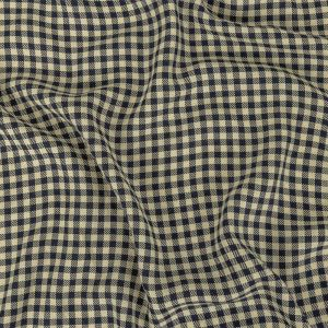 Italian Navy and Antique White Shepherd's Check Rayon Twill