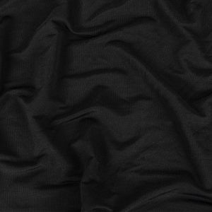 Black Cotton and Rayon Stretch French Terry