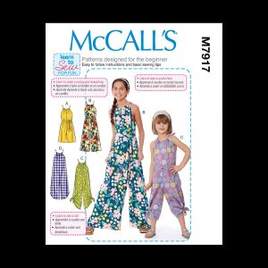McCall's Girls' Jumpsuit and Romper Pattern M7917 Size CCE (3-4-5-6)