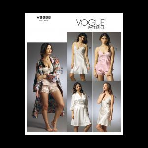 Vogue Misses' Robe, Camisole, Slip and Panties Pattern V8888 Size EE