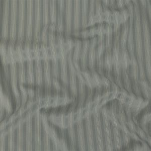 Cool Gray Satin-Faced Twill Stripes Stretch Polyester Suiting with Metallic White Pinstripes