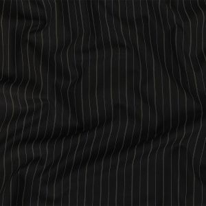 Liz Claiborne Jet Black and Beige Pinstriped Stretch Polyester Suiting