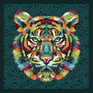 French Teal and Multicolored Bengal Tiger Chief Oversized Square Patch - 18.875