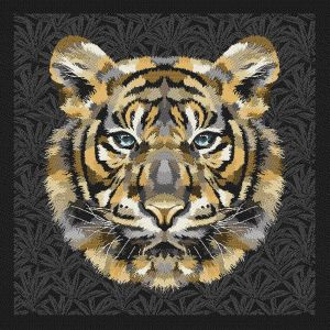 French Charcoal and Sand Bengal Tiger Chief Oversized Square Patch - 18.875