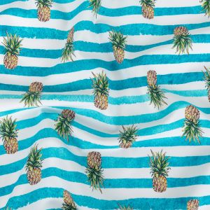 Blue and White Painted Stripes and Pineapples UV Protective Compression Swimwear Tricot with Aloe Vera Microcapsules
