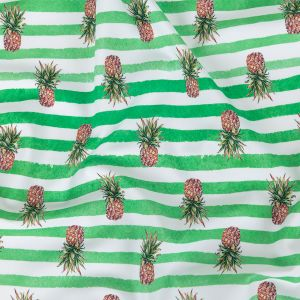 Green and White Painted Stripes and Pineapples UV Protective Compression Swimwear Tricot with Aloe Vera Microcapsules