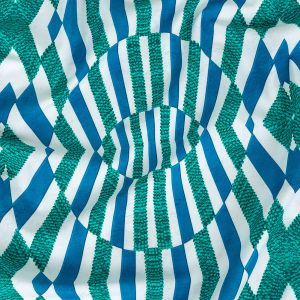 Blue and Teal Geometric UV Protective Compression Swimwear Tricot with Aloe Vera Microcapsules