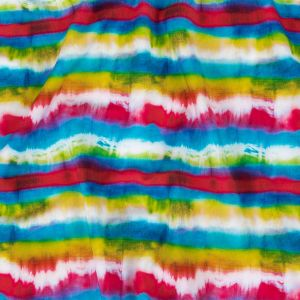 Pink, Blue and Yellow Tie Dye Stripes UV Protective Compression Swimwear Tricot with Aloe Vera Microcapsules