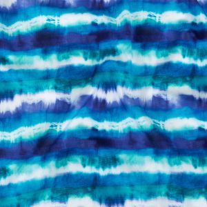 Deep Ultramarine, Teal and White Tie Dye Stripes UV Protective Compression Swimwear Tricot with Aloe Vera Microcapsules