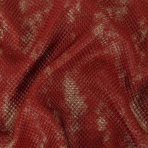 Mood Exclusive Metallic Red and Gold Tiny Diamonds Quilted Luxury Brocade