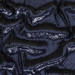 Laser Beam Baby Sequin Rows on Black Stretch Mesh