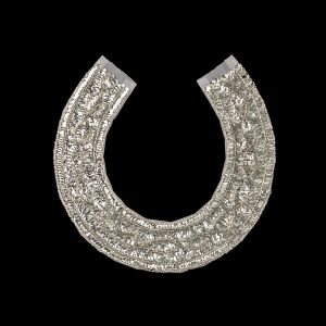 Vintage Silver Sequins and Silver-lined Beaded Collar Applique - 9.375 x 9.25