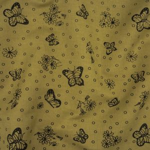 Khaki and Black Butterfly Printed Linen Woven