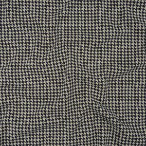 Patriot Blue and Vaporous Gray Houndstooth Stretch Cotton Jersey