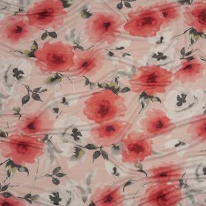 Pink, Gray and White Floral Rayon Stretch Jersey