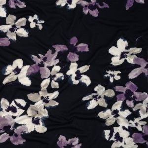Navy, White and Purple Floral Stretch Polyester Sweater Knit