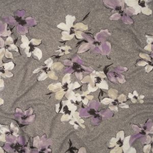 Gray, White and Purple Floral Stretch Polyester Sweater Knit