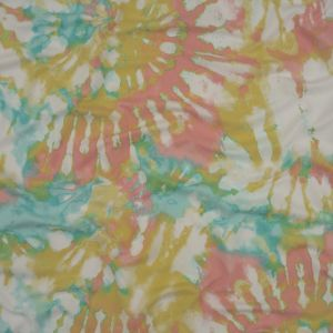 White and Pastel Multicolor Tie Dye Stretch Polyester Jersey