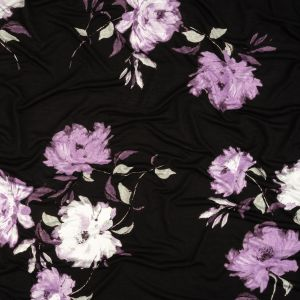 Black and English Lavender Floral Stretch Rayon Jersey