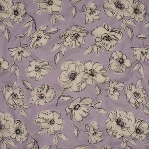 Light Purple and White Floral Cotton Jersey
