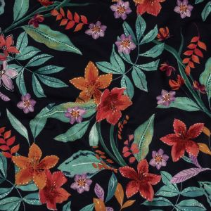 Red, Green and Black Iris Flowers and Leaves Cotton Jersey