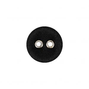 Black Fabric Covered Silver Edged 2-Hole Button - 25L/16mm