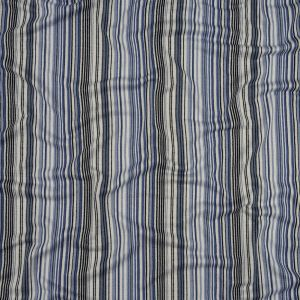 Blue and White Barcode Stripes Stretch Rayon Jersey