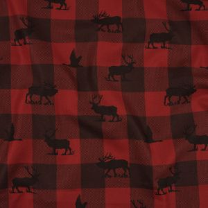 Black and Red Buffalo Checks and Animal Silhouettes Peached Cotton Twill