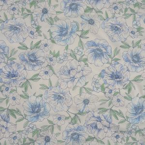Blue, Green, and White Floral Cotton Jersey