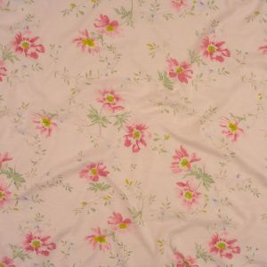 Light Pink, Green Tint and Periwinkle Floral Cotton and Rayon Jersey
