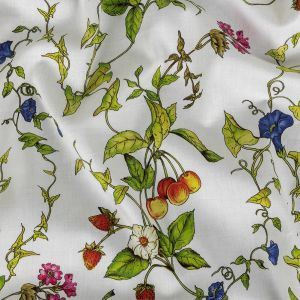 Milly Italian Green and White Flowers and Fruit Lightweight Stretch Cotton Sateen