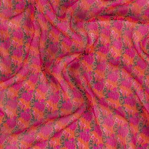 Famous NYC Designer Plum, Red and Black Floral Crinkled Silk Chiffon
