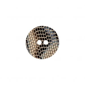 Italian Frosted Almond, Gray and Brown Brick Patterned 2-Hole Smooth Top Plastic Button - 24L/15mm