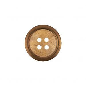Portuguese Natural Wood Set-in Brass 4-Hole Button - 28L/18mm