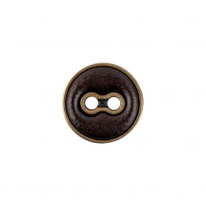 Italian Seal Brown and Brass Metal and Leatherette Button - 24L/15mm