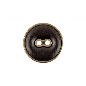Italian Seal Brown and Brass Metal and Leatherette Button - 32L/20mm
