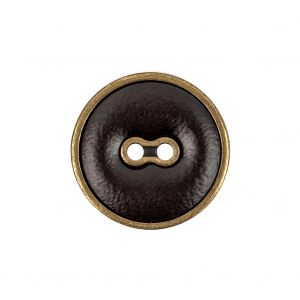 Italian Seal Brown and Brass Metal and Leatherette Button - 36L/23mm
