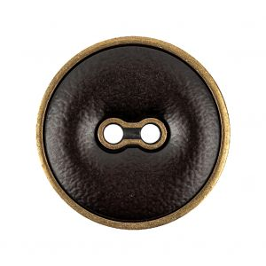 Italian Seal Brown and Brass Metal and Leatherette Button - 44L/28mm