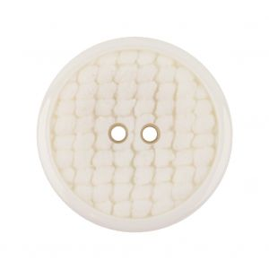 Italian White Abstract Textured Plastic Jacket Button - 44L/28mm