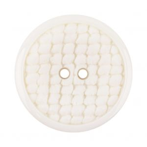 Italian White Abstract Textured Plastic Jacket Button - 54L/34mm