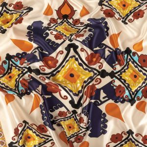 Orange, Peacoat and Yellow Geometric and Floral Medallions Silk Charmeuse Panel