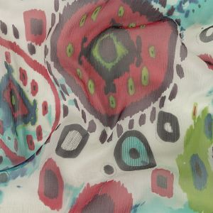Red, Opaline Green and Blue Ikat Medallions Crinkled Silk Chiffon
